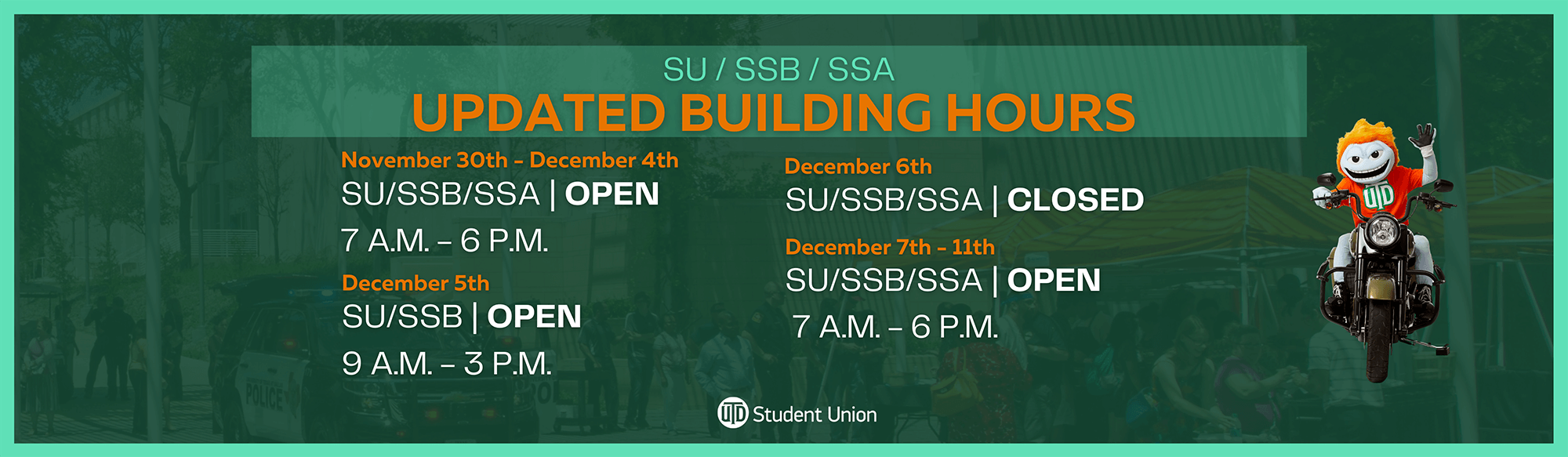 Building Hours Nov. 30 - Dec. 11