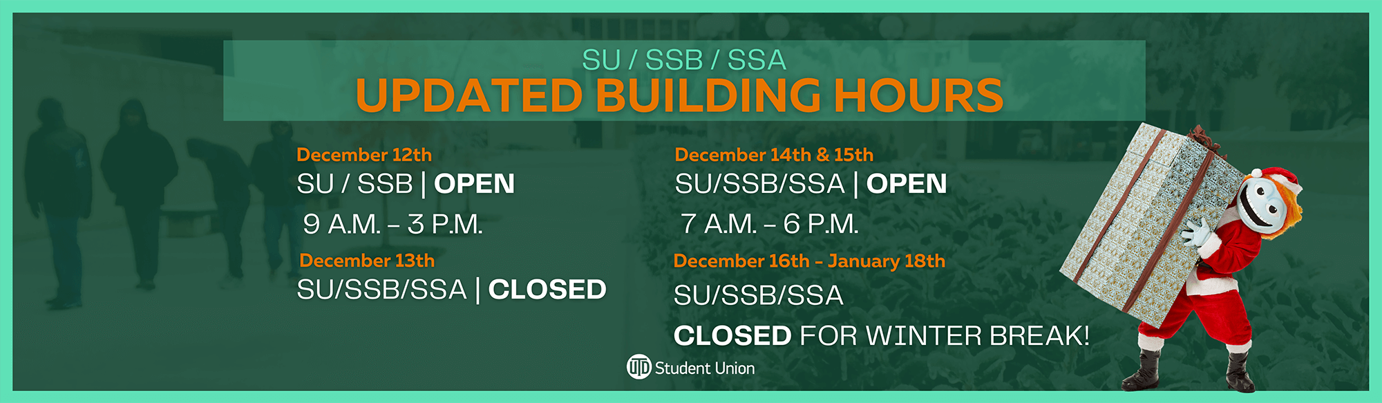 Building Hours Dec. 12 - Jan. 18